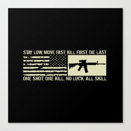 M4 Assault Rifle & Tactical Flag Canvas Print