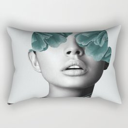 Floral Portrait (woman) Rectangular Pillow