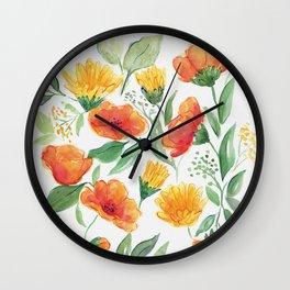 Spring Wildflowers Wall Clock