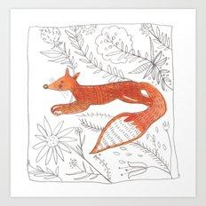 Decorative fox Art Print