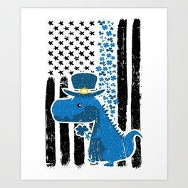 Thin Blue Line St Patricks Police Dinosaur Art Print