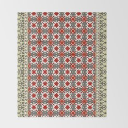 V12 Red Traditional Moroccan Rug Pattern. Throw Blanket