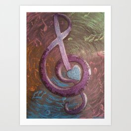 Colorful Music Treble Clef Cross Art Print