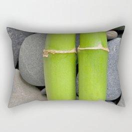 Green Bamboo Sticks on Pebble Rectangular Pillow