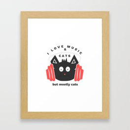 Music & cats Framed Art Print