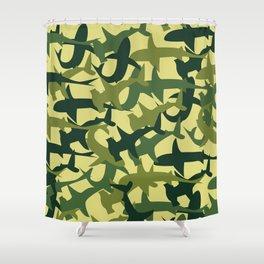 Green Camouflage Sharks Shower Curtain
