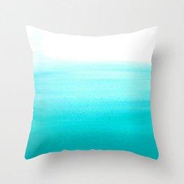 Dip dye abstract in pastel aqua blue Throw Pillow