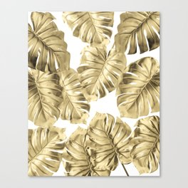 Gold Monstera Leaves on White 2 Canvas Print