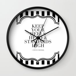 Keep Your Heels Head And Standards High,Fashion Quote,Fashionista,Fashion Print,Girls Room Decor,Mod Wall Clock