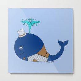 Steampunk Whale (Blue) Metal Print