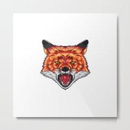 Angry Fox Face Metal Print