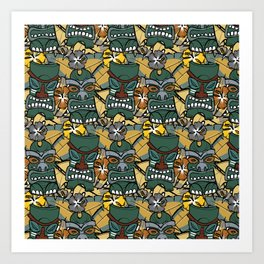 Tiki Tropics - Mustard and Green Art Print