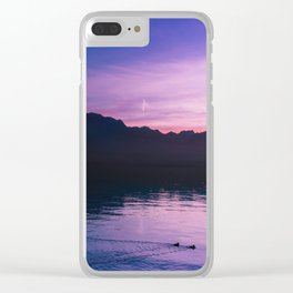 Winter Sunset with Mountains - Landscape Photography Clear iPhone Case