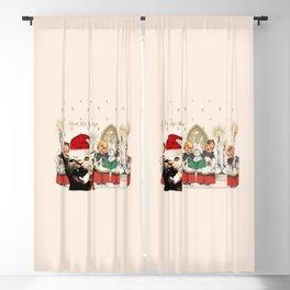 Cat singing Christmas carol Silent Night Blackout Curtain