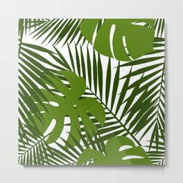 Palm leaf and monstera silhouettes seamless pattern Metal Print