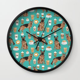 German Shepherd pet portrait service dog coffee lover pet portrait dog breeds Wall Clock