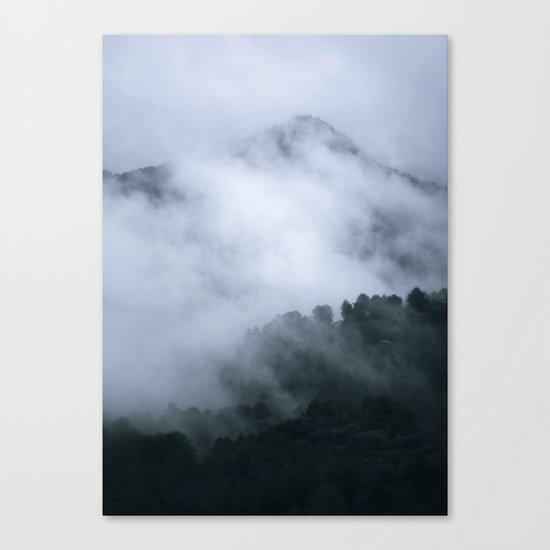 """Mistery mountains"". Retro. Foggy. Canvas Print"