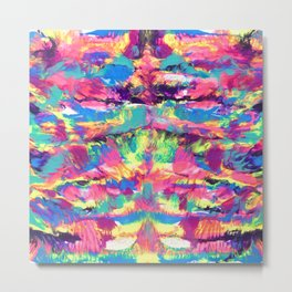 Rainbow Abstract Rorschach Style Painting Metal Print
