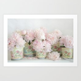 Shabby Chic Dreamy Pastel Peonies Floral Home Decor Art Print
