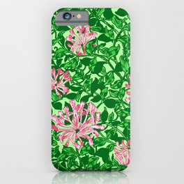 William Morris Honeysuckle, Pink and Emerald Green iPhone Case