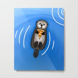 Sea Otter with Pizza Metal Print