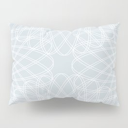 spirograph inspired pattern in white and a pale icy gray Pillow Sham
