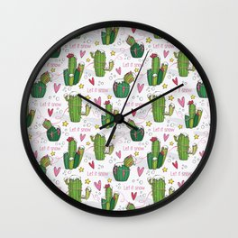 Let it Snow Cactus Wall Clock