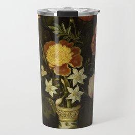 Ambrosius Bosschaert - Still life with flowers in a Wan-Li vase (1619) Travel Mug