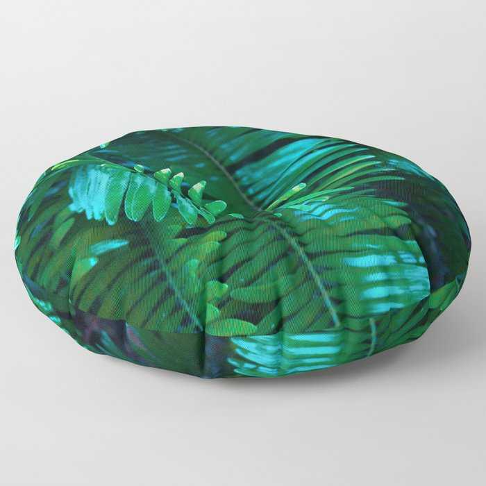 Green Palm Leaves Floor Pillow