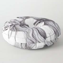 JennyMannoArt Graphite Drawing/Serena the mermaid Floor Pillow