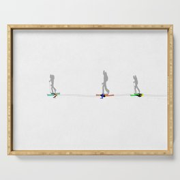 Cross Country Skiing   Aerial Illustration Serving Tray