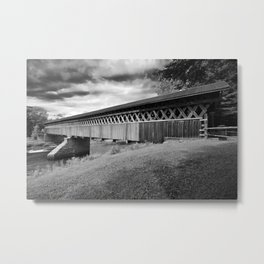 McVetty-McKenzie covered bridge made of wood and dating from 1893 is located in Gould, Lingwick, Estrie, Quebec Canada black and white Metal Print
