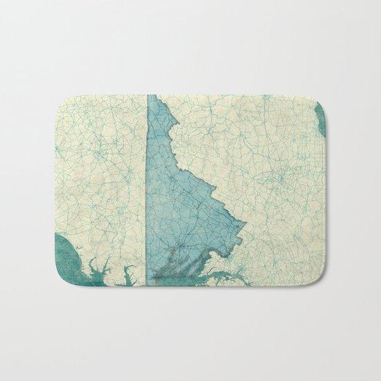 Virginia State Map Blue Vintage Bath Mat