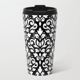 Scroll Damask Big Pattern White on Black Travel Mug