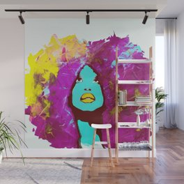 Afro Funk Girl colors Yellow Pink Wall Mural