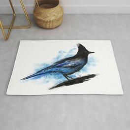 Watercolour stellar  blue jay bird watercolor Rug