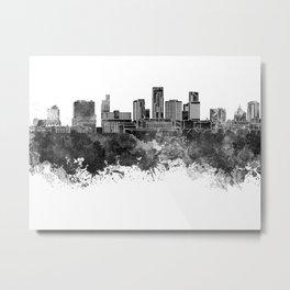 St. Paul skyline in black watercolor Metal Print