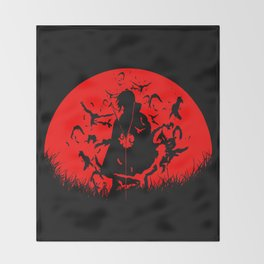 Red Moon Itachi Throw Blanket