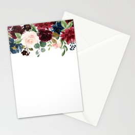 Burgundy Blue Watercolor Flowers Border Stationery Cards