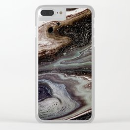 Black oil, acrylic on canvas Clear iPhone Case