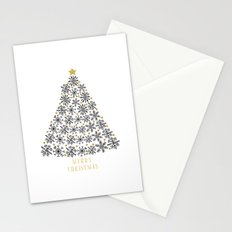 Snowflakes Tree (black gold) Stationery Cards