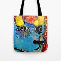 spanish Tote Bags featuring Spanish Bull by Madara Mason Studio