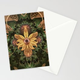 Beautiful Filigree Oxidized Copper Fractal Orchid Stationery Cards