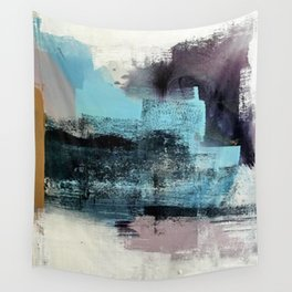 Reaction: an abstract mixed media piece in blues and purple by Alyssa Hamilton Art Wall Tapestry