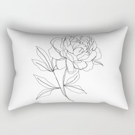 Botanical illustration line drawing - Peony Rectangular Pillow