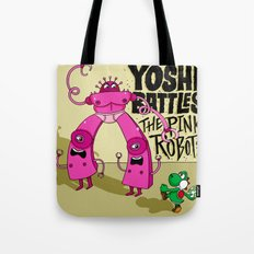 Yoshi Battles The Pink Robots Tote Bag