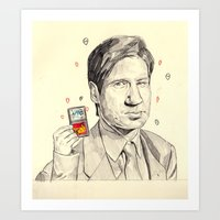 mulder Art Prints featuring Mulder by withapencilinhand