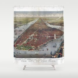 Aerial View of New York City by Currier & Ives (1884) Shower Curtain