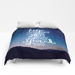 Eyes on the stars quote white lettering Comforters