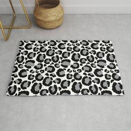 White Black & Light Gray Leopard Print Rug
